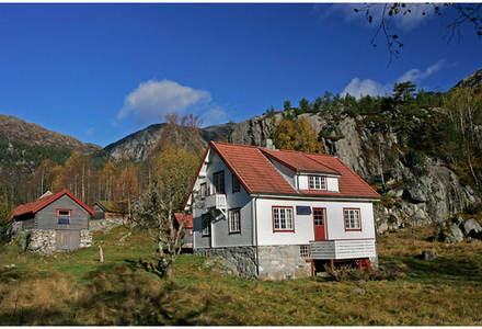 Hovudhuset på Bakken med løa til venstre