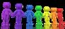 Figurer i forskjellige farger holder hender.
