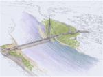 Illustrasjon som viser den nye Tana bru i landskapet