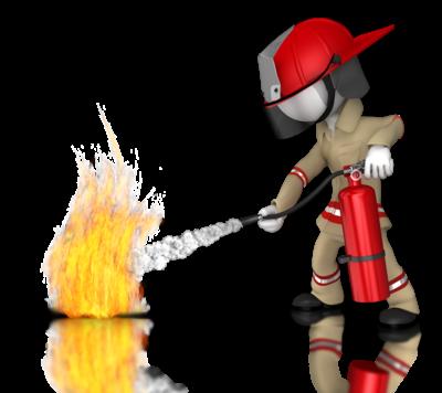 Brannmann med brannslukningsapparat slukker brann