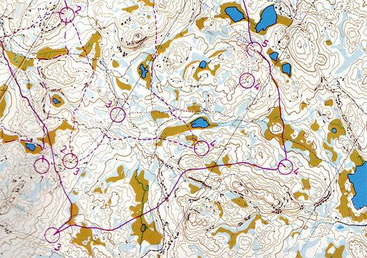 Kart fra Junior-NM 1977 på Ringkollen ved Hønefoss i Buskerud. Utsnitt fra NOF-posten.