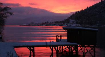 Esefjorden i rosa morgenlys, foto jh