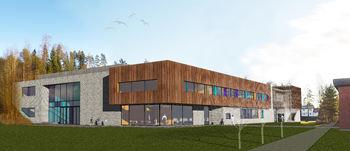 Fotomontasje ny barneskole ved ungdomsskolen