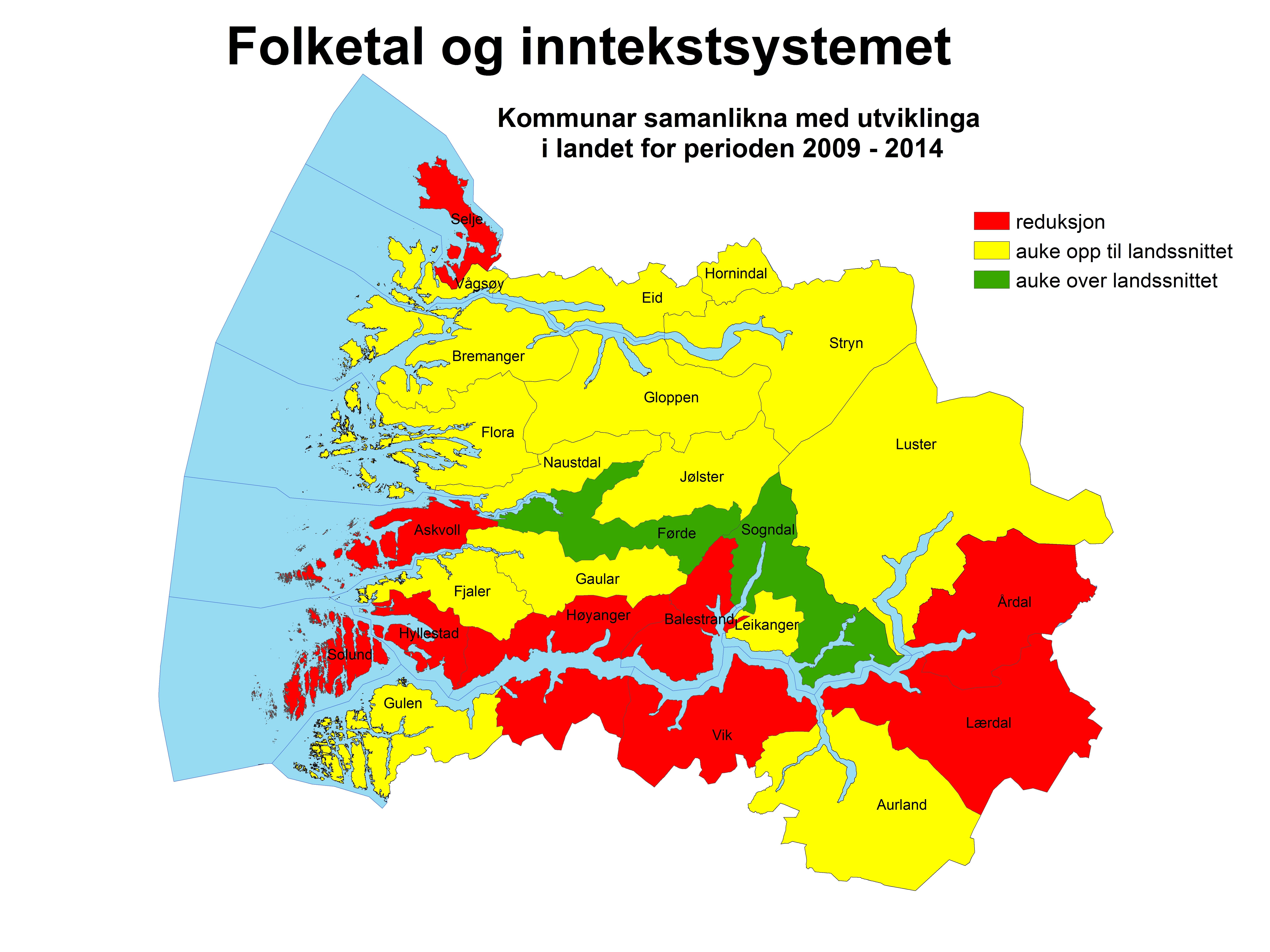 Folketal og inntektssystem. Kjelde: Fylkesmannen i Sogn og Fjordane