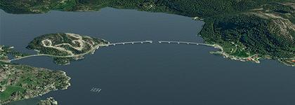 Skisse over prosjektert bru mellom Duesund og Masfjordnes