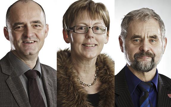 Fotocollage med tre portrettfoto av dei tre fylkespolitikarane Norvall Nøringset, Norunn Lunde Furnes og Nils Gjerland.