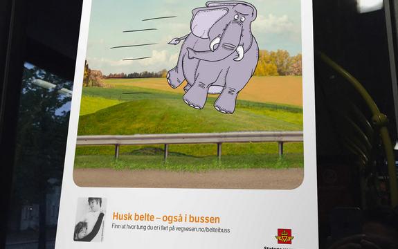 Plakat frå Statens vegvesen for å minne folk på å nytte belte i buss, som viser at ein blir tung som ein elefant om ein kræsjar