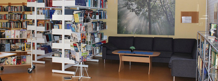 Bøker i bokhyller ved sofakroken