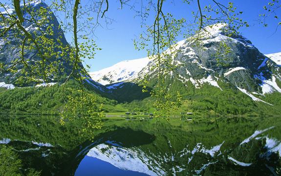 Fjord med snødekte fjell i bakgrunnen