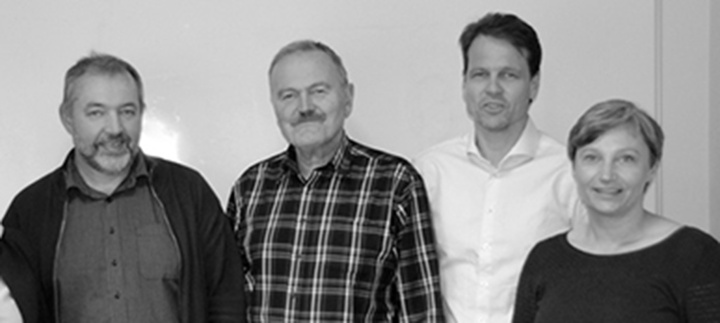 Leiargruppa ved Eid vidaregåande skule. Frå venstre Ottar Bjørkedal, Ove Bjørlo, Ove Lillestøl og Torild Natvik
