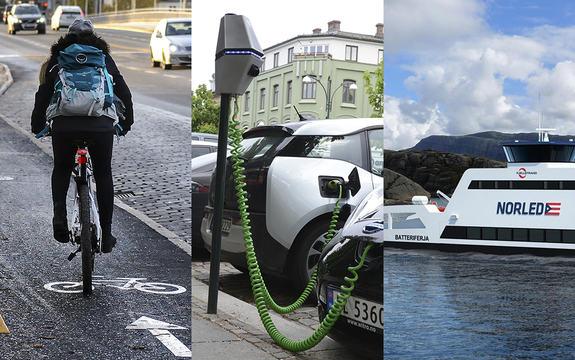Fotocollage av tre bilete som syner ein syklist bakfrå, lading av el-bilar og ei batteriferje med logoen til Norled på.
