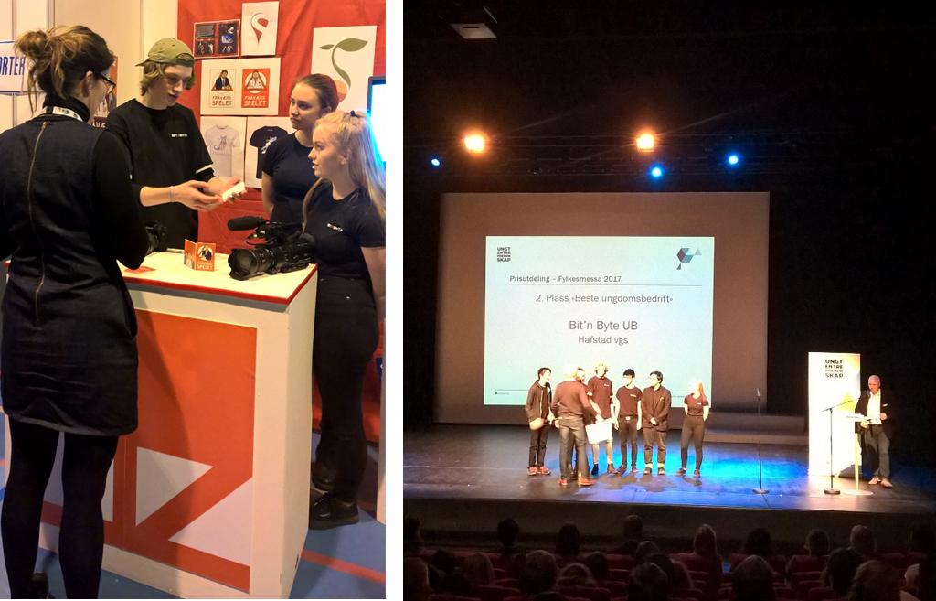 Ungdomsbedrifta Bit and Byte på utstillingsstanden, og på scena for å motta pris, foto Mona Fossdal.jpg