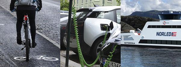 Fotocollage med tre bilete som syner ein syklist som syklar på oppmerka sykkelområde i trafikken, ein el-bil som står på lading og el-ferja Ampere.