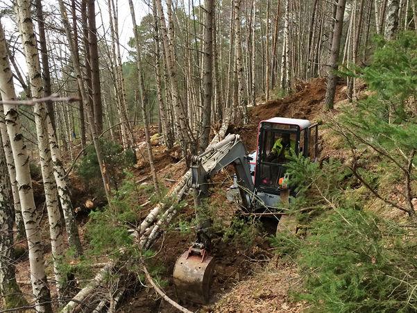 Foto som syner ei gravemaskin som er i ferd med å rydda plass til ein tursti i skogen.