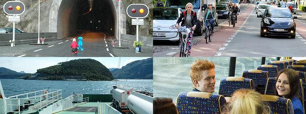 Fotocollage med fire bilete. Det eine viser to små ungar utanfor ein smal tunnel, det andre syklistar og bilar i eit bybilete, det tredje er utsikt frå ei ferje mot ferjekaien på Anda og det siste syner ungdomar som er passasjerar i ein buss.