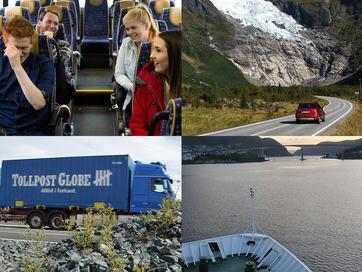 Fotocollage med fire bilete. Det eine syner ungdomar på ein buss, det andre syner ein raud bil som køyrer langs ein veg sommarstid. Det tredje syner eit Tollpost-vogntog, og det fjerde er teke frå dekket på ein båt som er på veg mot Måløy-brua.