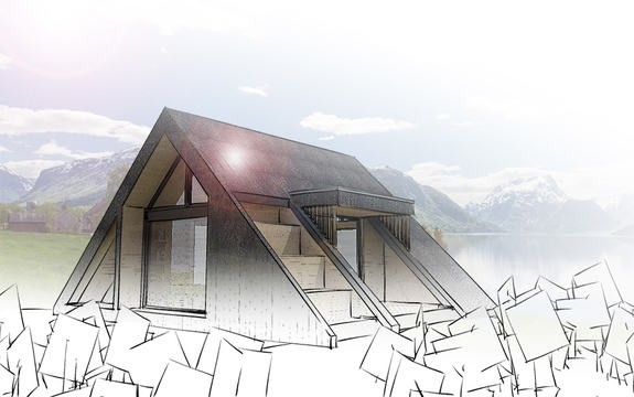 Illustrasjon som syner dagsturhytta som skal byggjast i alle kommunane i fylket. Hytta har form som ein trekant, men blant anna trappetrinn på taket ute.