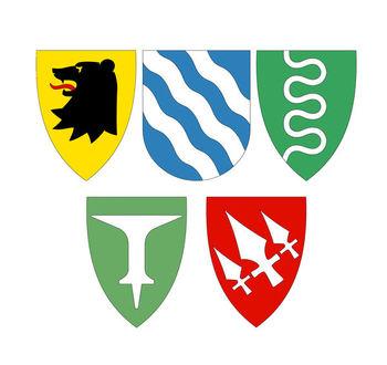 Kommunevåpen for Askim, Eidsberg, Hobøl, Spydeberg og Trøgstad.