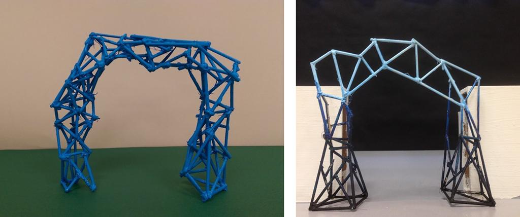 På bilete ser vi to modellar av portalar, designa av elevar i 3sfa