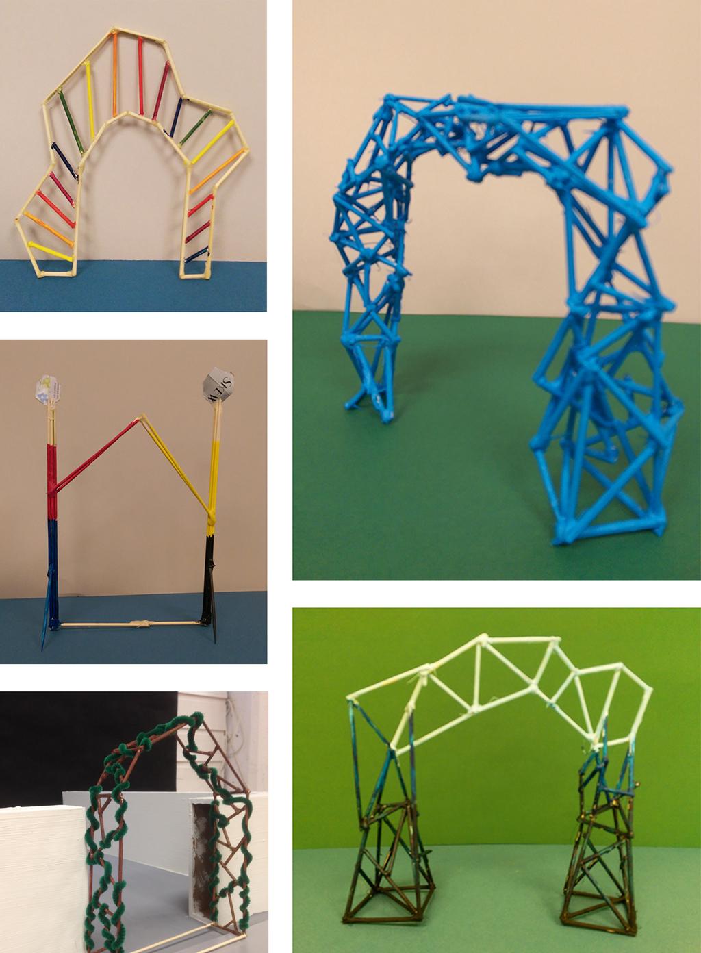 På bilete ser vi seks ulike forslag til portalar, designa av elevar i 3sfa