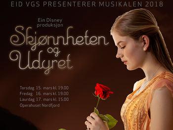 Musikalen i 2018 «Skjønnheten og udyret» med elevar frå Eid vgs