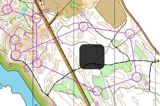 Utsnitt fra H17AL-løypa i Kløftefossløpet. Kart: Modum Orienteringslag.
