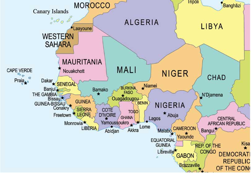 Dakar Map Africa on