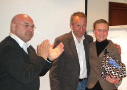 Fra venstre: Generalsekretær Morten Lønstad, ny styreleder Paul Henrik Kielland, avtroppende styreleder Eva Braaten