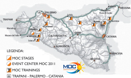 Kart over Sicilia med MOC Sprint Tour og MOC 2011 arenaer vist på kartet.