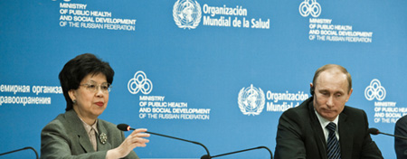 WHO DG Margaret Chan with Russian Prime Minister Vladimir Putin