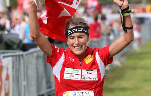 Simone Niggli inn til VM-gull på langdistansen under VM i Trondheim 2010. Foto: Geir Nilsen/Langrenn.com.