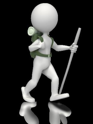 Figur med sekk på ryggen