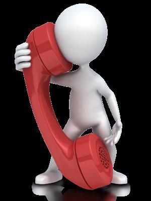 Figur snakker i kjempestor telefon