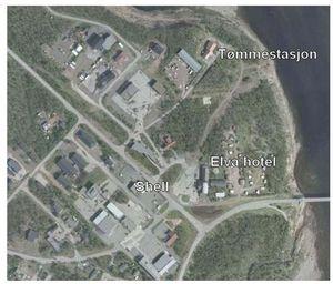 Kart over tømmestasjon - Tana bru
