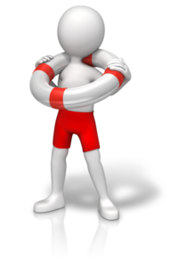 Figur med livbøye rundt halsen