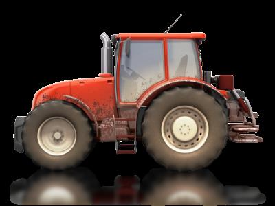 Bilde av skitten traktor
