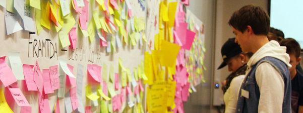 Fylkestinget for ungdom lagde på eitt av tingseta ein framtidsvegg, der elevane klistra opp post it-lappar med kvar dei såg føre seg at dei er om 20 år. Veggen vart fylt med gule, rosa, grøne og lyseblå lappar.