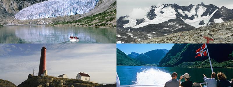 Fotocollage som syner den varierte naturen i Sogn og Fjordane. Først ser vi Nigardsbreen i Jostedal, med ein båt på veg inn mot breen. Neste bilete er utsikt mot Hurrungane. Nummer tre syner Utvær fyr  i Solund, og det siste syner båt på Sognefjorde