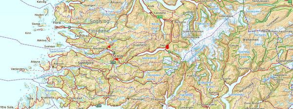 Kart frå Fylkesatlas som syner store delar av fylket. Frå Værlandet og Flora i vest til Skagastølstindane i aust. Lengst nord ser vi Sveldgen, Sandane og Lodalsdåpa, og i sør Solund, Sogndal og Årdal.