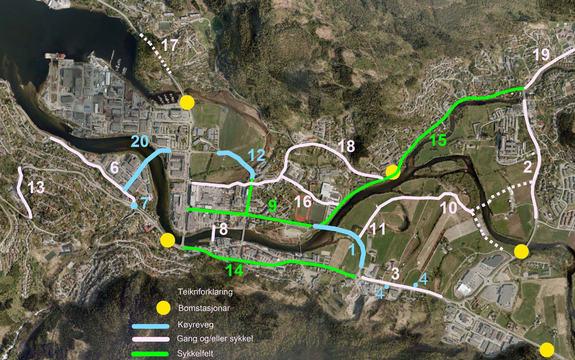 Illustrasjon som syner prioriterte tiltak i Førdepakken, vegprosjektet i og rundt Førde.