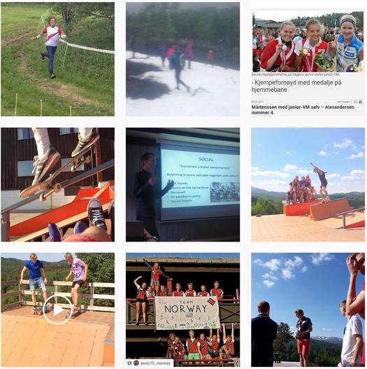 Norges Orienteringsforbund sin bleike presentasjon av o-sporten på Instagram i starten av juli 2015. Skjermdump av Instagram.