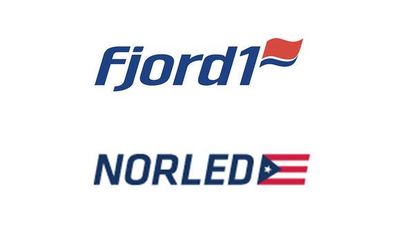 Logoane til Fjord1 og Norled plasserte på kvit bakgrunn.
