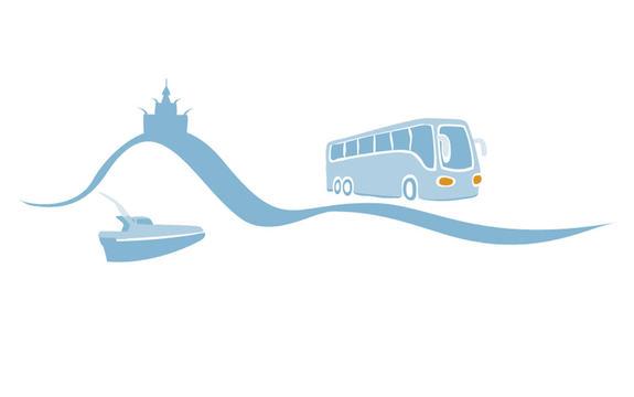 Illustrasjon som syner delar av den grafiske profilen til fylkeskommunen. Vi ser ei bølgje med ein båt over og ein buss under.