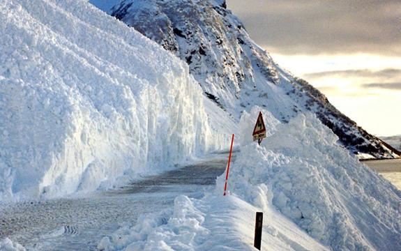 Foto som syner eit snøskred som har gått over ein veg. Vi ser eit høgt fjell til venstre og eit vatn eller ein fjord til høgre. Foto: Pål Alvereng, Nasjonal rassikringsgruppe