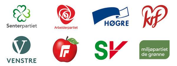 Fotocollage av logoane til dei politiske partia Arbeidarpartiet, Senterpartiet, Høgre, Framstegspartiet, Kristeleg Folkeparti, Venstre, SV og Miljøpartiet De Grønne.