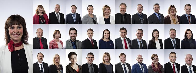 Portrettfoto av alle politikarane i fylkestinget 2015–19. Foto: Oskar Andersen