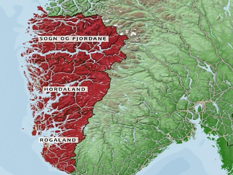 Kart over sør-norge med hordaland, sogn og fjordane og rogaland markert i raudt