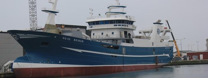 Båten Beinur ved verft i Skagen.