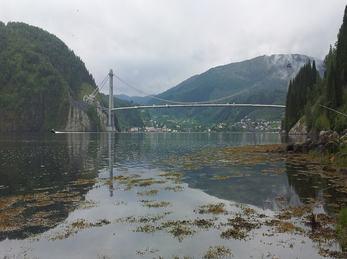 Utsikt mot Dalsfjordbrua frå Fossevika.