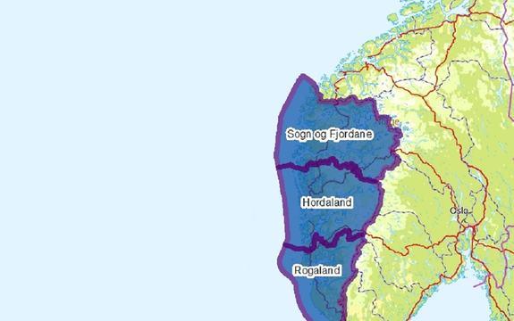 Kart med Hordaland, Rogaland og Sogn og Fjordane markert